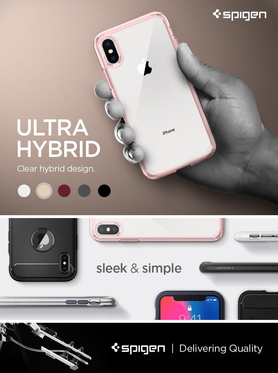 ultra hybrid rose crystal iphone x