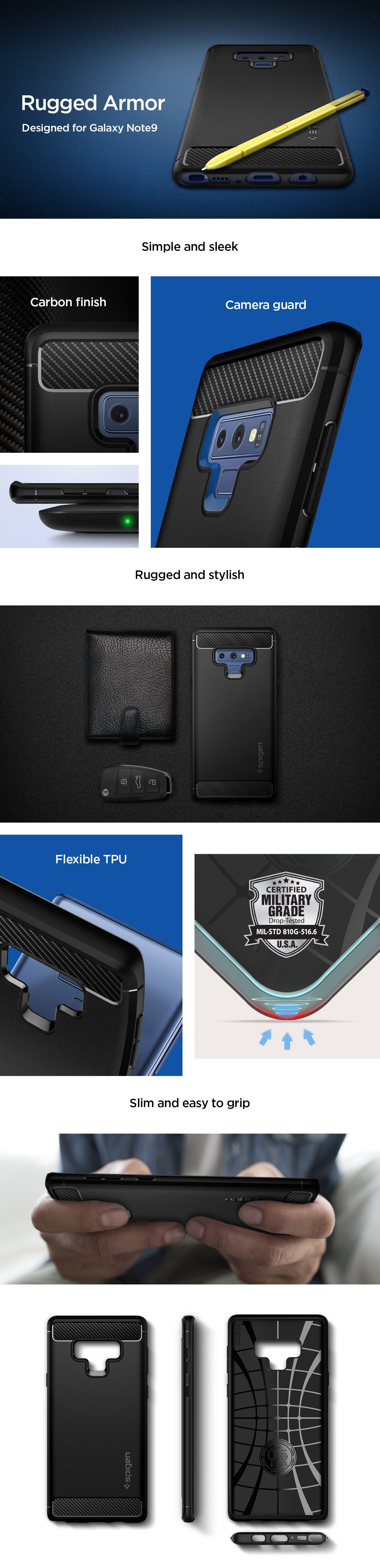 note 9 rugged armor spigen