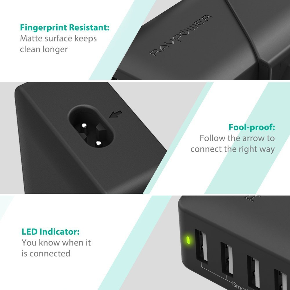 RAVPower 40W 8A 4-Port USB Charger Charging Station with iSmart Technology Black