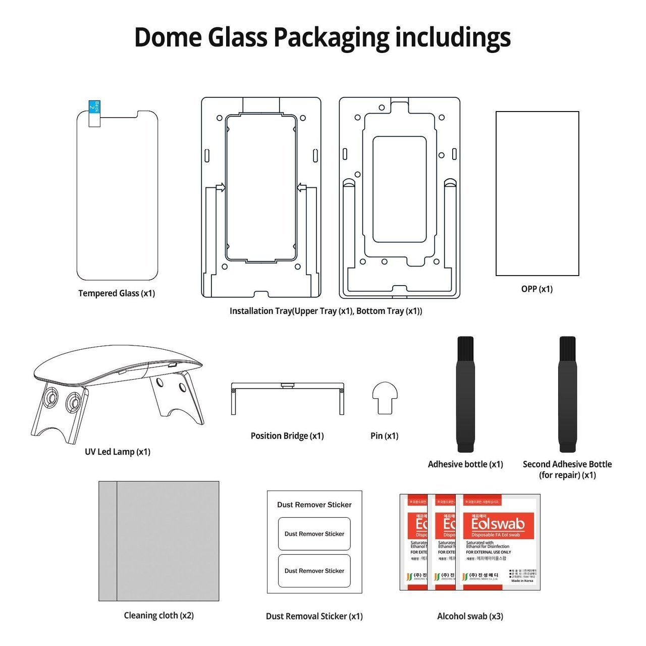 Apple iPhone XS / iPhone X Whitestone Dome Glass with UV Light & Easy Install Kit