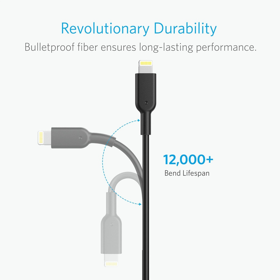 Anker PowerLine II Lightning Cable 10ft - Black (A8434H11 )