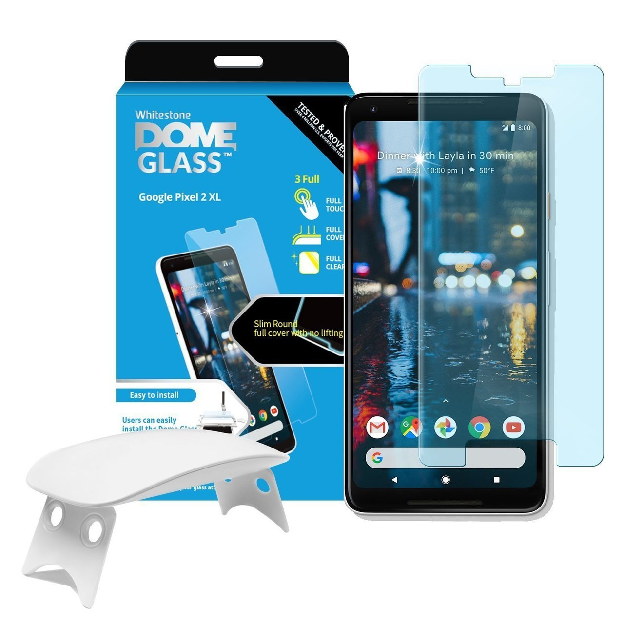 Google Pixel 2 Xl Whitestone Dome Glass with UV Light & Easy Install Kit