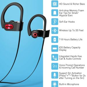 Flame Bluetooth Earphones Sports Water Resistant by MPOW - Black