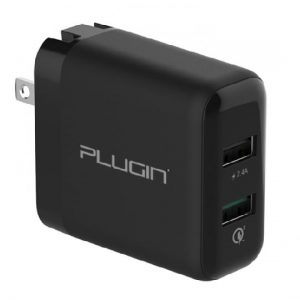 2 port fast charger plugin fusion charger qc 3.0 fast charger